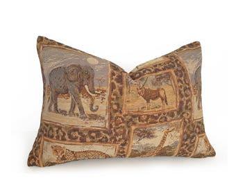 African Animal Pillows, Safari Pillow Covers, Tiger Leopard Elephant Pillow, Masculine Pillow, Brown Green Gold Pillow, 12x18 Lumbar, 18, 20
