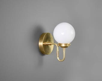 Raw Brass Gold Light Wall Bathroom Sconce with Globe Vanity Modern Mid Century Industrial UL Listed