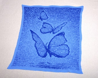 newborn blanket, knit baby afghan, baby shower gift, butterfly print, travel baby blanket