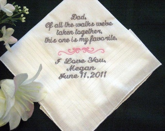 Father of the bride 115S Personalized Wedding Handkerchief, Daddy of the Bride, wedding party, parents gifts