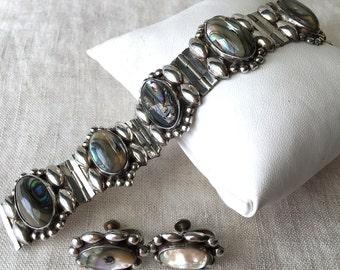 Mexico Abalone, Sterling, Bracelet, Earrings Set, Demi Parure, 1950s, Eagle Stamp, PK127