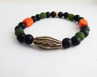 Kente Bracelet African Jewelry Set Necklace Bracelet Men Gift Ideas Afrocentric Bronze African Mask Kente Inspired