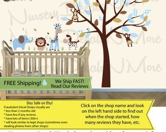Blue Wall Decal for Little Boys, Tree Wall Decal with Jungle Animals (SG Mini Animal Full Tree Blue Brown) SGMAFT