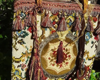 Vintage embellished multi color tapestry handbag,