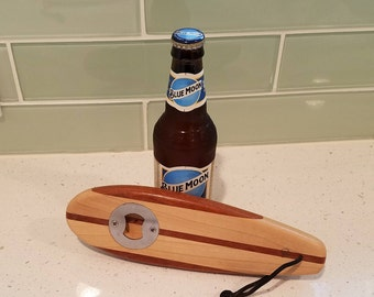 Surfboard Bottle Opener, Handcrafted, Handheld Bottle Opener, Surfboard, Stringers, Beer Opener