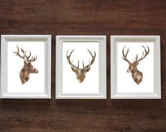 Geometric Brown Stag Head Set of 3 | Stags / Deer | PRINT