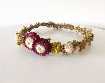 Dried flower crown, bridal crown, flower girl crown, mommy and me crown, headwreath, flower halo, wedding flower crown, boho wedding crown