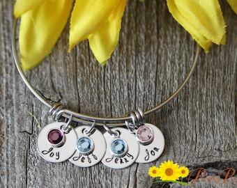 Personalized Stainless Steel Mom Bracelet - Bangle Birthday Gift - Adjustable Charm Bracelet with Birthstone - Bangle Bracelet for Mother