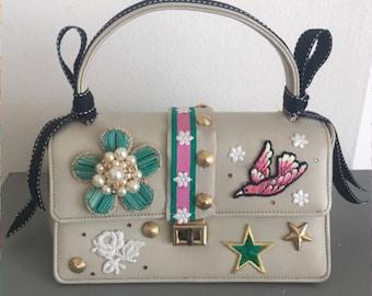 Vintage Embellished Upcycled 1960's Handbag