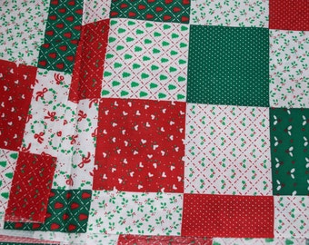 "Christmas Patchwork Fabric 2 Yards + 80"" x 44"" wide"