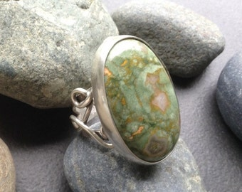 Rainforest jasper or green rhyolite ring with a wide sterling silver band, unique design, large statement ring, size 6 fits size 5 and 3/4