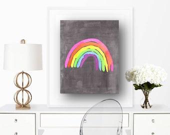 Rainbow Picture, Rainbow Print, Watercolor, Rainbow, Colorful, Print, Abstract, Watercolor Print, Over the Rainbow, Digital Print, Primary