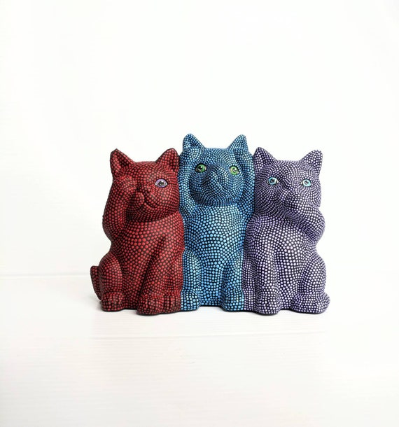 Cats figurine Hans painted ceramic cats hear no see no speak no evil
