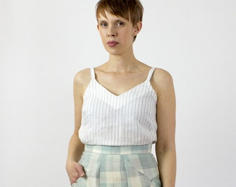 Jade linen camisole, Pinstripe cami, Sustainable fashion linen capsule basics