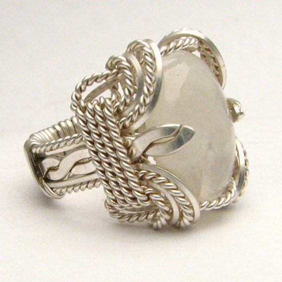 Wire Wrapped Rainbow Moonstone Sterling Silver Ring Available in 18x13mm (3/4x1/2inch) 25 ct