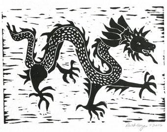 Chinese dragon linocut 5x7  original block print, black Asian dragon folk art, hand pulled print, dancing dragon, primitive art, nursery art