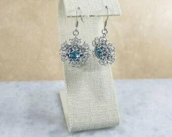 Pixie Snowflake Chainmaille Earrings - Aquamarine Swarovski
