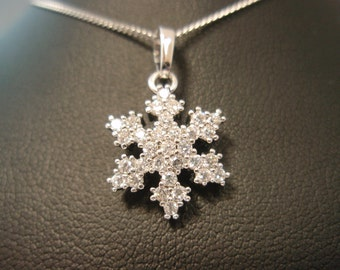 Christmas  winter snowflake cz silver plated pendant