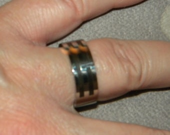 Father's Day, Men's Ring, Stainless Steel, Band, with Black Stripes, Wedding Band, Cool Ring, Anniversary Ring, Biker, Rocker