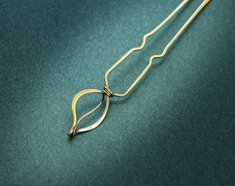 Gold hair pin Brass hair jewelry Wire wrapped gift gift for her Boho jewelry