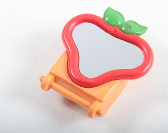 Strawberry Shortcake, Vintage Mirror Toy, Plastic, Red, Orange, Green Leaves, Toy Part, Accessory, 1983, PVC, Small ~ The Pink Room ~ 170221