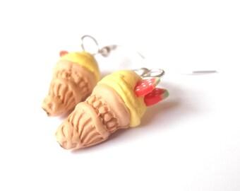 Ice Cream Earrings Lemon ( polymer clay kawaii jewelry handmade mini food jewelry summer earrings food earrings yellow miniature food faux )