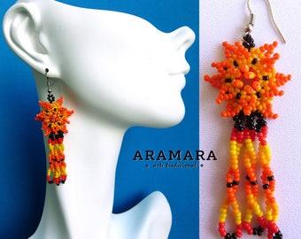Huichol Earrings, Beaded Flower, Mexican earrings, Mexican Jewelry, Native american earrings, Flower Earrings, Mexican folk art, AF-0482