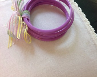 Vintage Summer Lavender Bangle Bracelets, Opaque Lucite