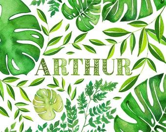 Tropical Green Leaves Name Print