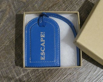 My Oops-Your Gain - Extra Special Category!  Mini Leather Cobalt Luggage Tag with the Word ESCAPE! imprinted in silver, & Gift Box