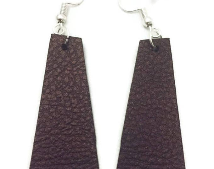 Leather Earrings, Brown Faux Leather Earrings, Rectangular Leather Earrings, Geometric Shape Leather Earrings, Silver Wires, 2 Inches long