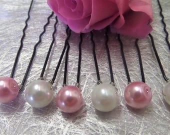 Hair pins, hair pins pink and White Pearl bridal hair accessory