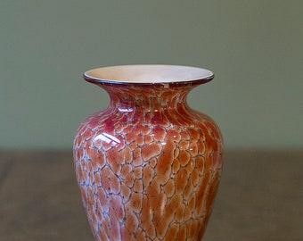 STUNNING Vintage SIGNED Murano Studio Art Glass Vase,BEAUTIFUL Earth Tone Design