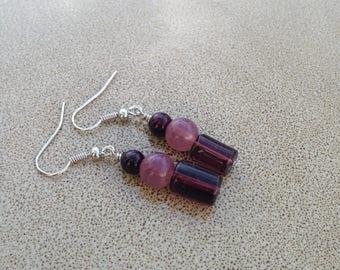 Lilac glass beaded dangle earrings
