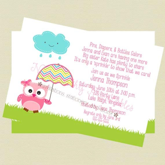 Baby Sprinkle Invitation Baby Shower Invitation Owl Theme