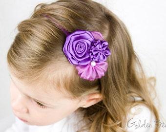Purple Flower Girl Headband -  Three Purple Mist Flowers Bouquet Handmade Headband
