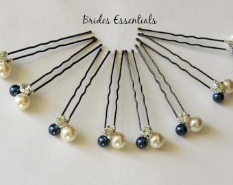 Set of 8 hair pins, Wedding Hair Pins, Bridal Hair Piece, Prom Hair Do, Beaded Pin, Swarovski Pearls, Bridesmaid Hair Pin, Ivory Champagne