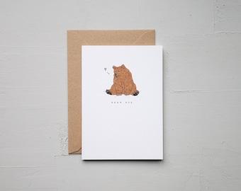 Bear Hug - Bear Card - Anniversary Card - Funny Card - Birthday Card - Love Card - Note Card - Animal Card