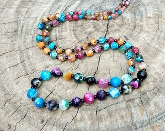 long beaded necklace, multicolor fire natural agate. 4,5,6 mm beads.