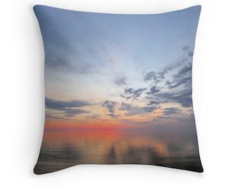 Beach Theme Sunrise Pillow Cover- Soft Sunrise, Coastal Art, photography pillow, pillow art, Beach Photo Pillowcase,  colorful beach decor