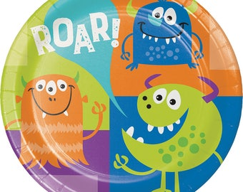 Monster Birthday Party Plates/ Monster Party Plates/ Monster Party/ Large Monster Plates