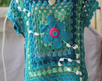 Turquoise gradient green tunic sweater