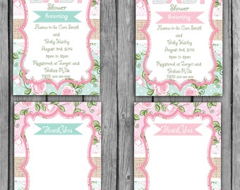 Shabby Chic Baby Shower Invitation, Floral Baby Shower Invitation, Shabby Chic Baby Shower Invitations, Floral Baby Shower Invitations