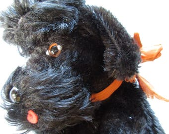 Steiff Puppet, Poodle Puppet, 1960s Toy, German Toy, Hand Puppet, Black Poodle Dog, Steiff Dog, Dog Puppet, Snobby Dog, Vintage Steiff