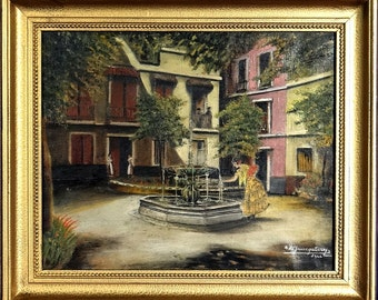 Rare ca.1944 Basque Country Fountain w/People Painting Oil/Canvas/Frame Signed/Dated