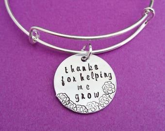 thanks for helping me grow, teacher gift, teacher bracelet, gift for teacher, teacher appreciation, personalized teacher, thank you teacher