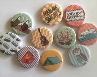 """set of 10 camping 1"""" or 1.25 inch pinback buttons, flatback buttons or hollowback buttons"""