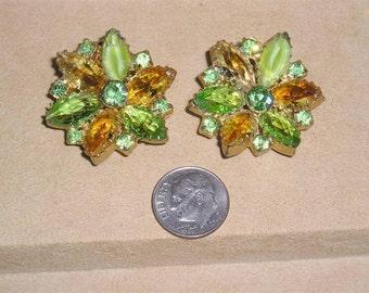 Vintage Juliana Art Glass And Green Rhinestone Clip On Earrings 1960's Jewelry 68