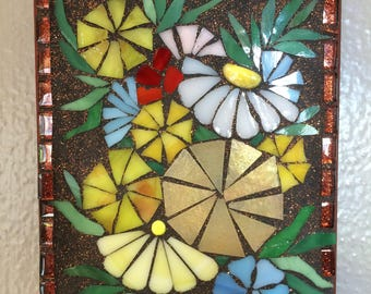 Stained Glass Mosaic Flowers with Major Glitter