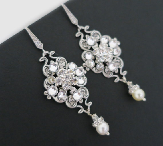Bridal earrings vintage wedding earrings chandelier pearl like this item mozeypictures Image collections